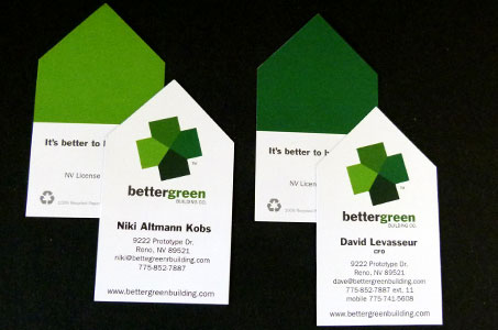 Better green building business cards paperspecs and binding special diecut joins all four houses together each person received the same amount of different colored backs in order to make the logo reheart Gallery