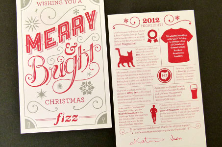 printing along with the vibrant red and silver of these christmas cards surely brought lots of seasonal joy to the friends and clients of fizz creative - Christmas Cards For Clients