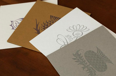 Elaborate letterpress designs for stationery.