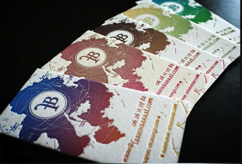 Fabiel Barral's (MR CUP) gradient-ink letterpress business cards.