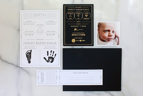 Gold foil letterpress birth announcement