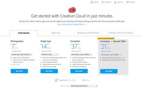 Creative Cloud's creative pricing
