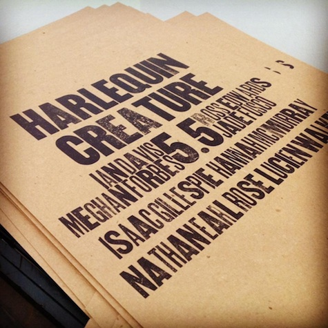 Harlequin Creature hand-typed zine