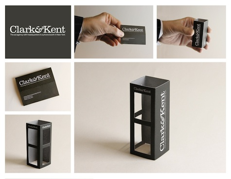 Clark&Kent phone booth business card