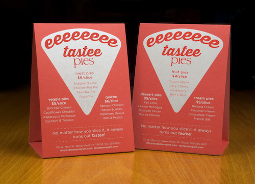 9 Astrobrights Tastee Pies table tents 500 wide