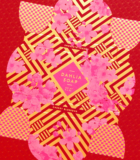 Dahlia soap box with red and gold color texture.