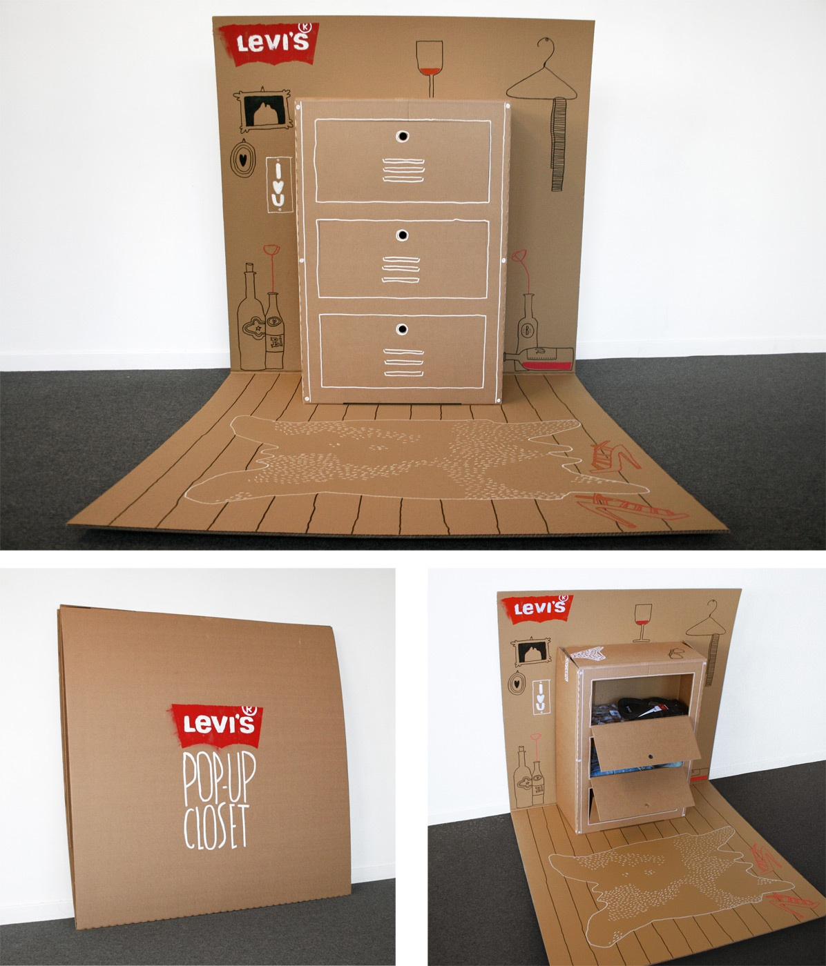 Cool design for Levis shipping box turned makeshift closet.