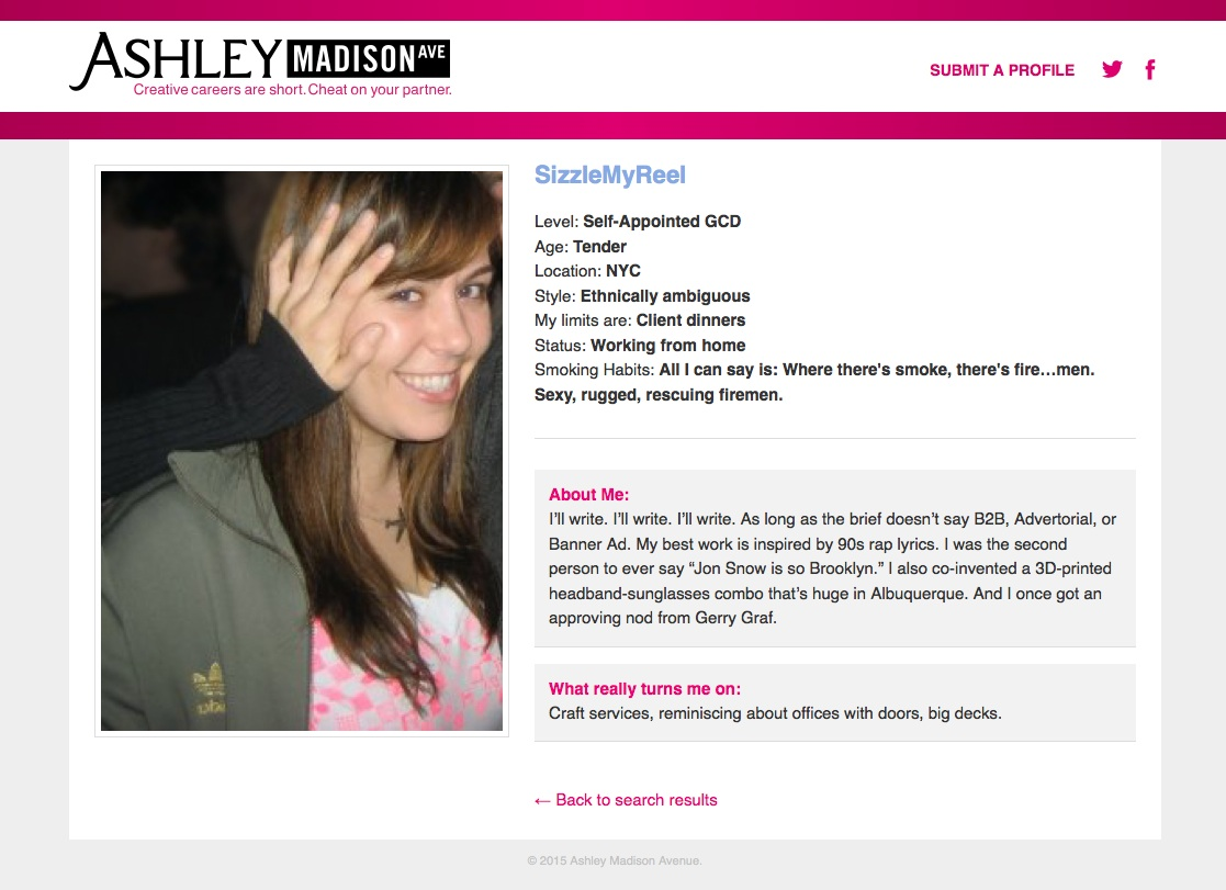 ashley madison profile