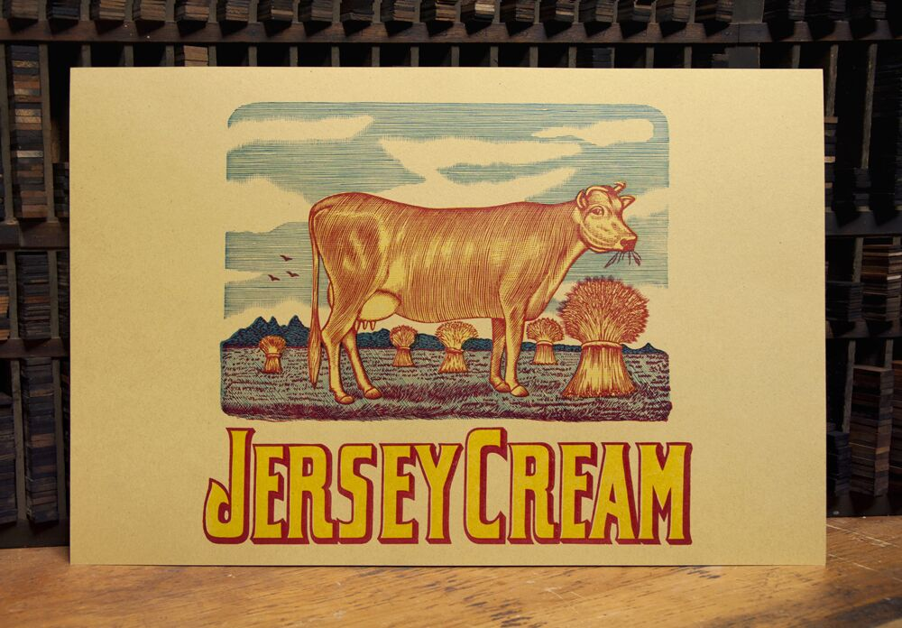 jersey cream letterpress design