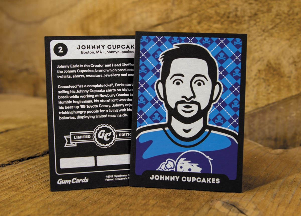 Business cards of the week paperspecs johnny cupcakes card design reheart Image collections