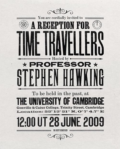 time travelers invitation design