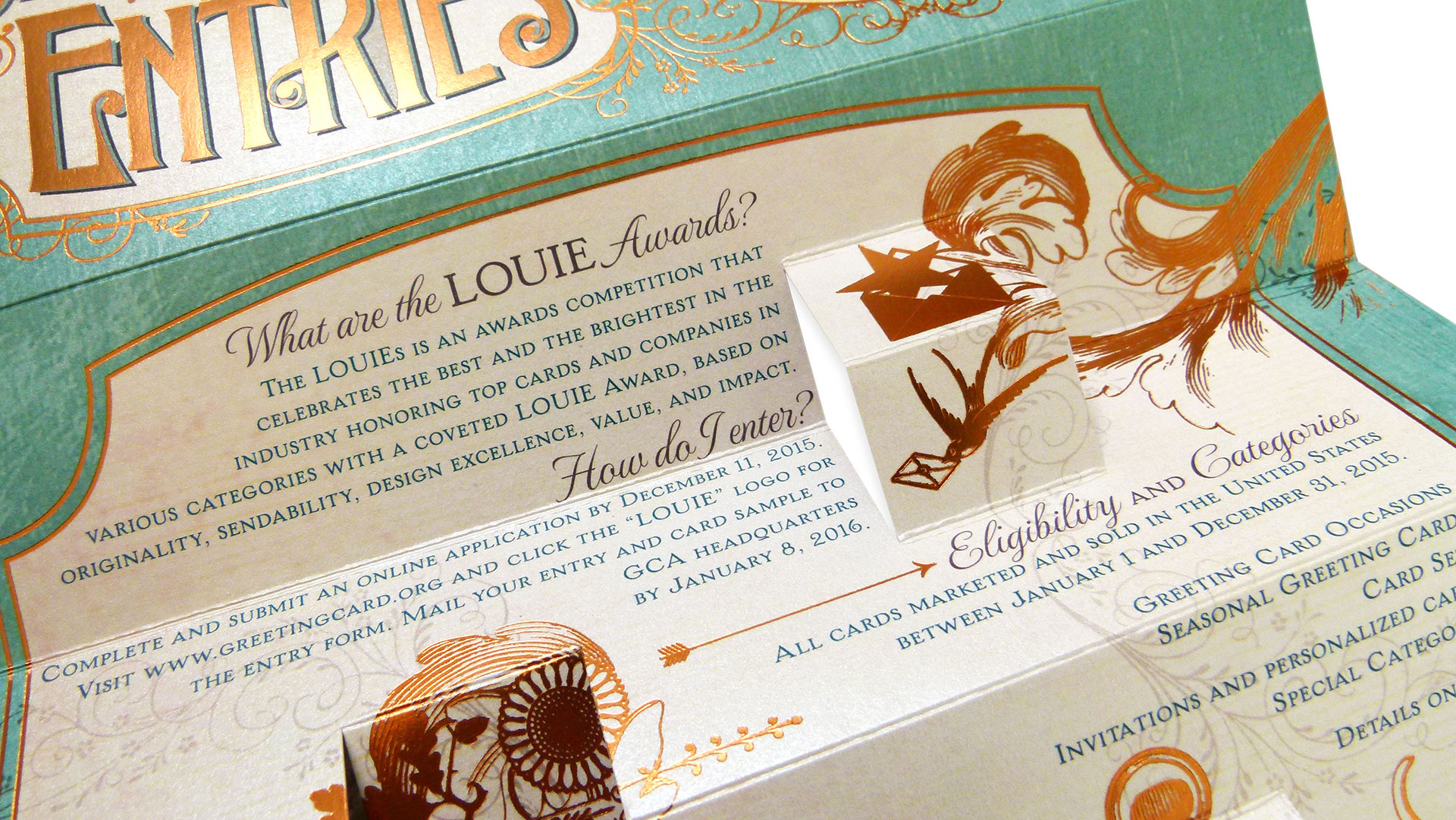 Louie awards call for entries paperspecs envelope 10 square flap print quantity 2500 production time 30 days printing method digital number of colors cmyk finishing and binding foil stamp kristyandbryce Gallery