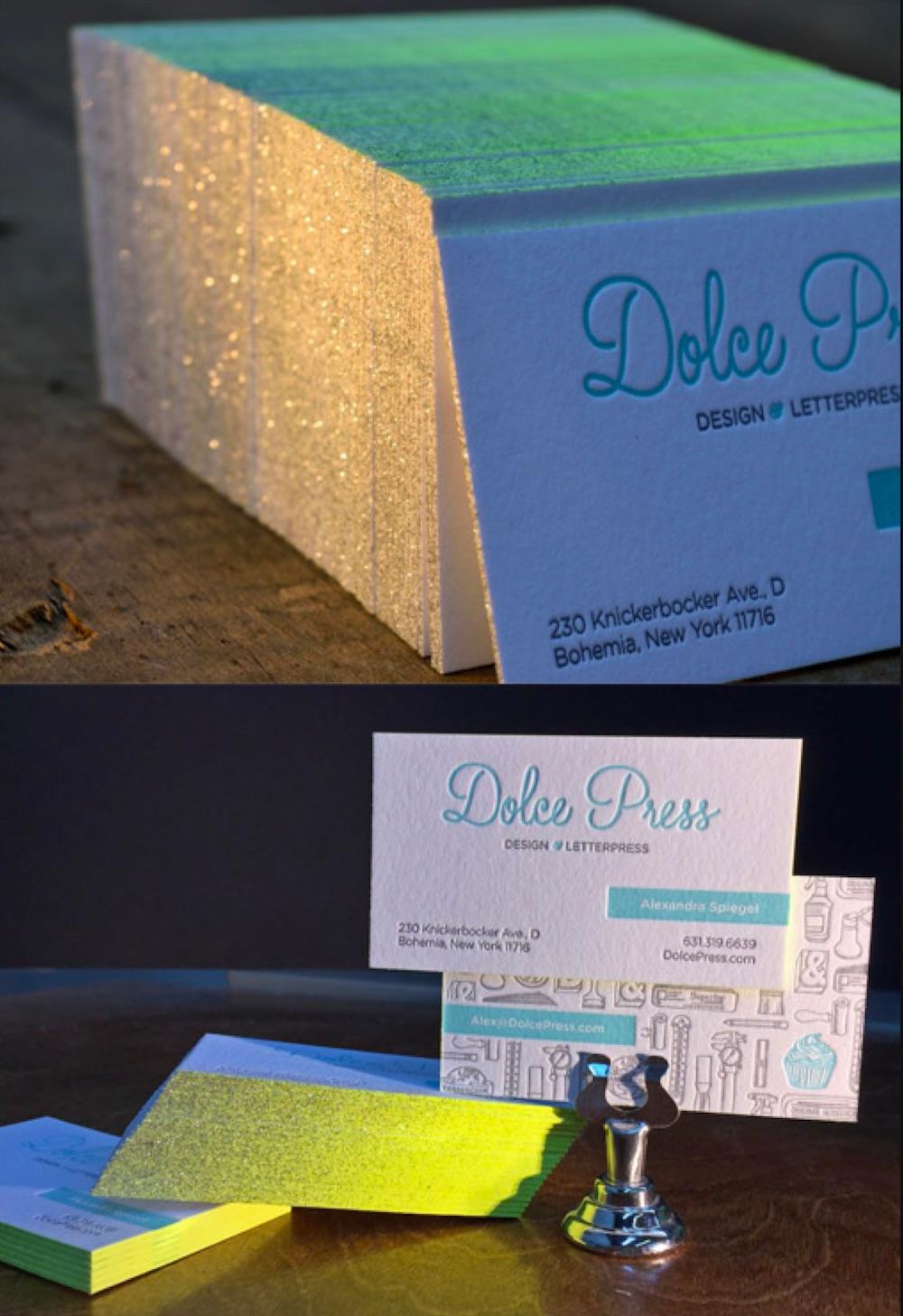 glitter edge business card