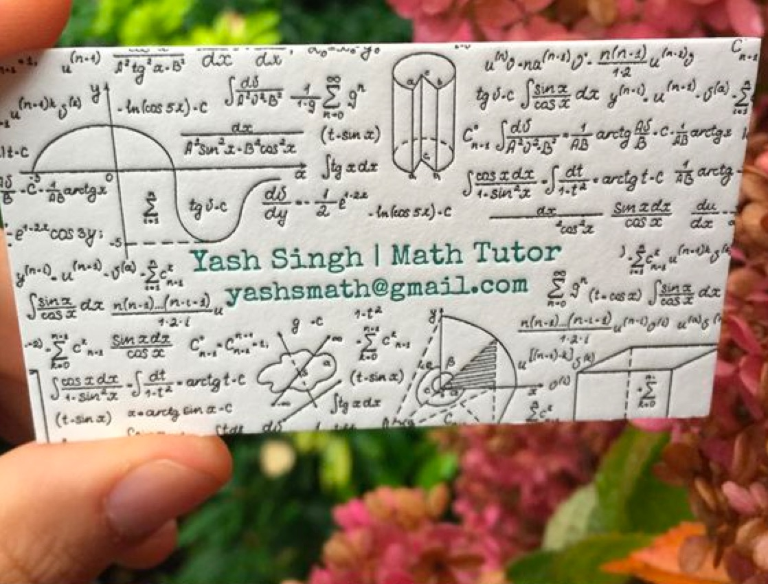 Business cards of the week paperspecs math tutor business card colourmoves