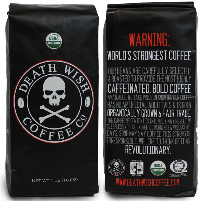 Death wish coffee packaging design and warning label.