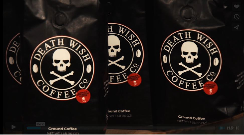 Skull and cross bones graphic on death wish coffee packaging.