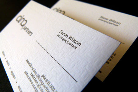 Cinq partners business card paperspecs print quantity 300 production time one month printing method letterpress number of colors one color finishing and binding blind emboss reheart Gallery