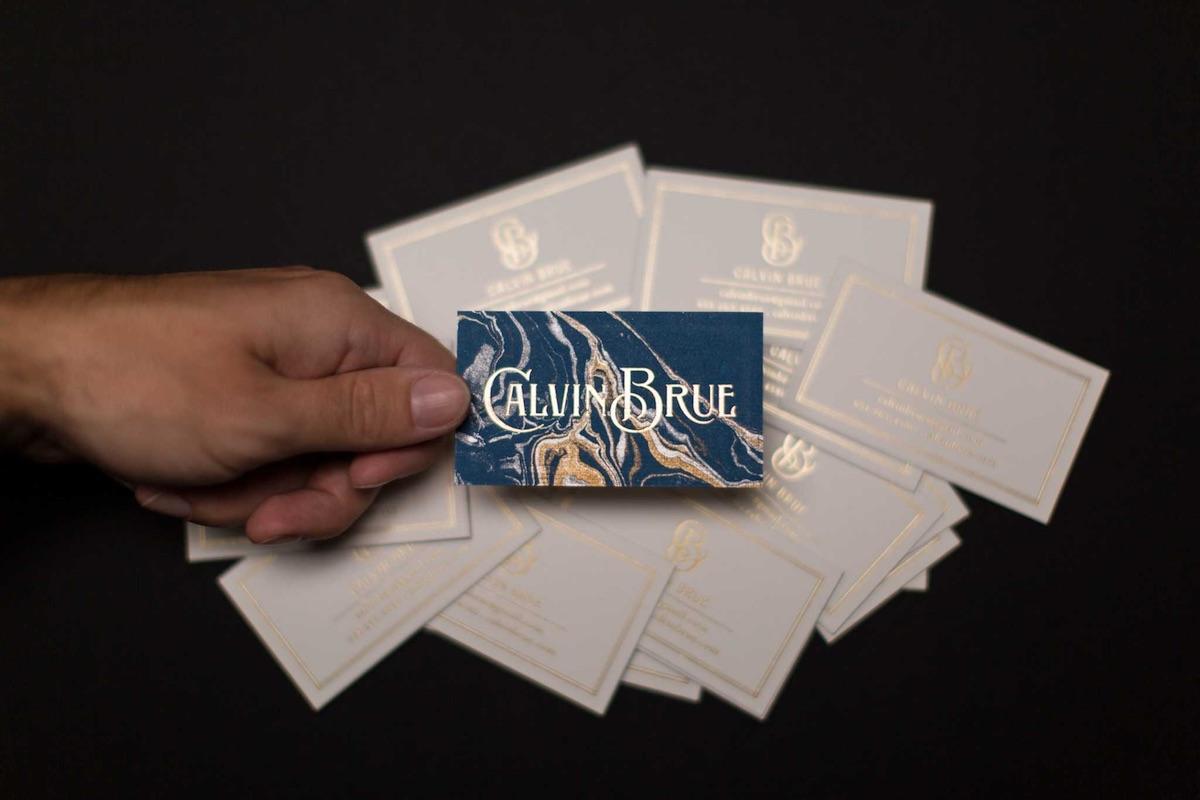 Calvin Brue\'s \'Marbelous\' Business Card - PaperSpecs
