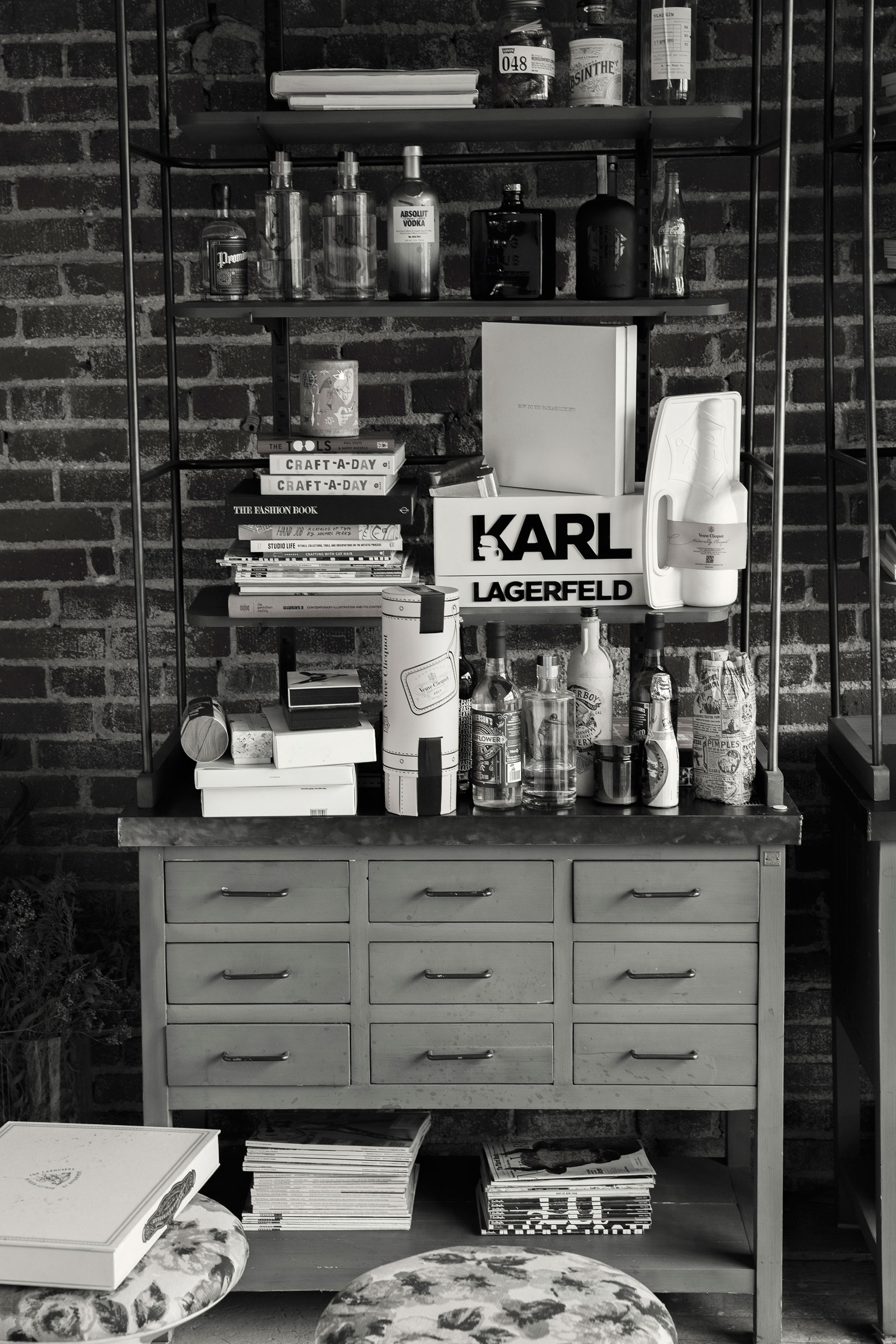 Black and white photograph of Karl Lagerfeld whiskey for Dieline.