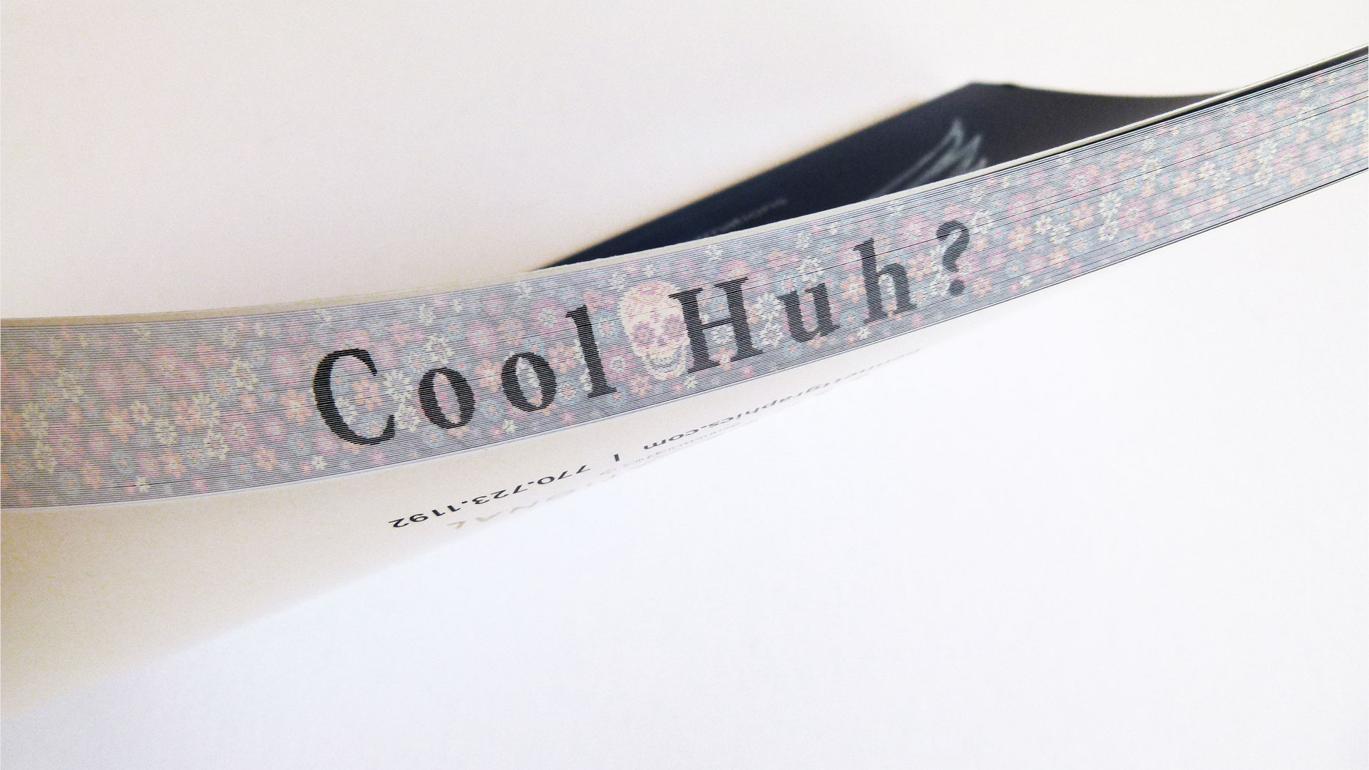 Outer edge of 'Cool huh' journal using notebook printing technique.