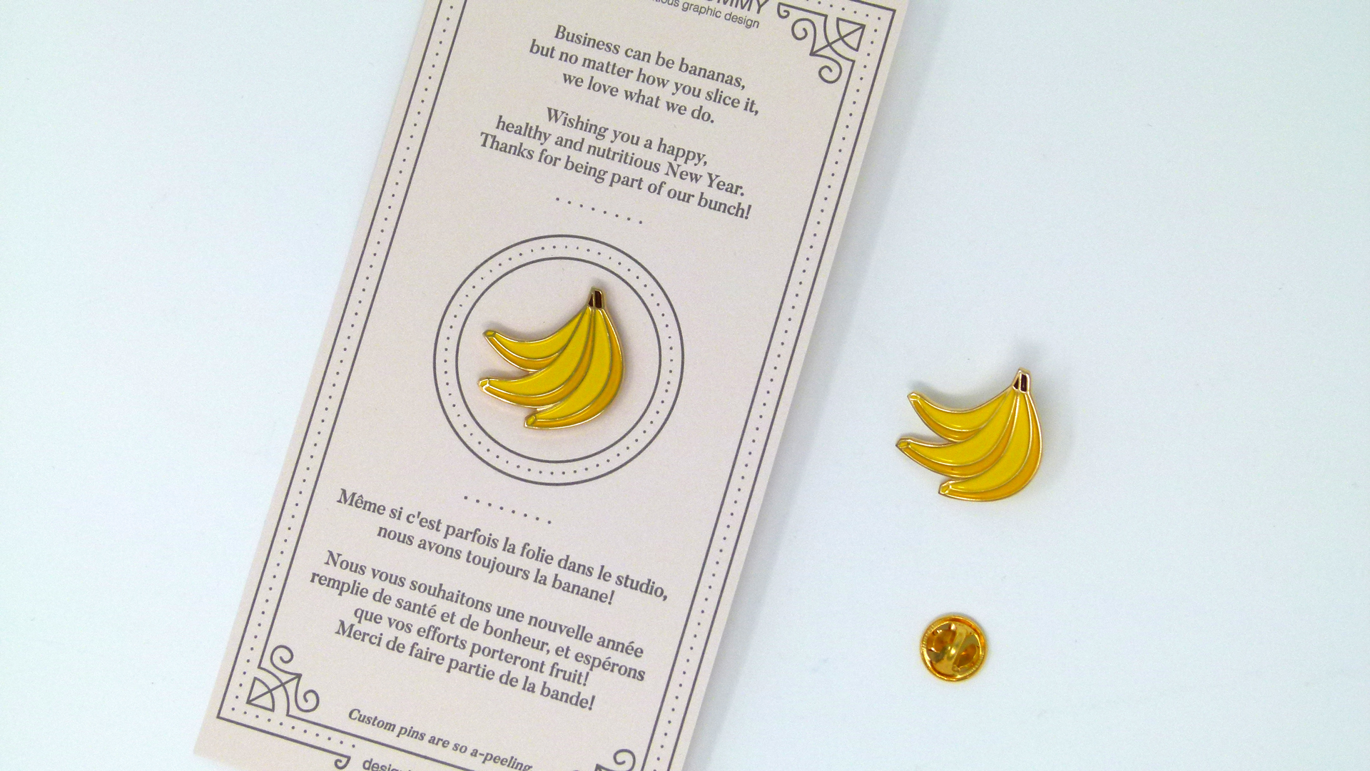 Design is Yummy 'Part of Our Bunch' letterpress card and pin - PaperSpecs