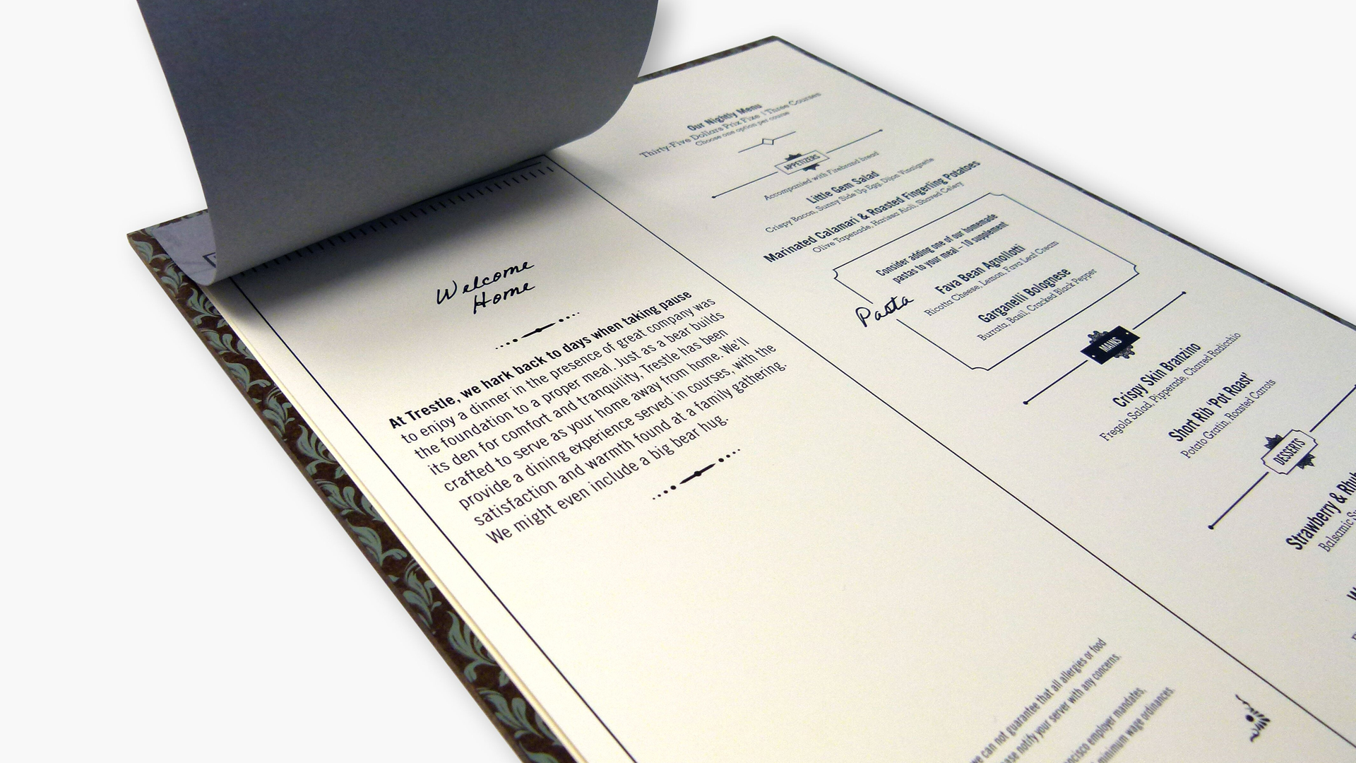 Trestle Restaurant Menus and Business Cards - PaperSpecs